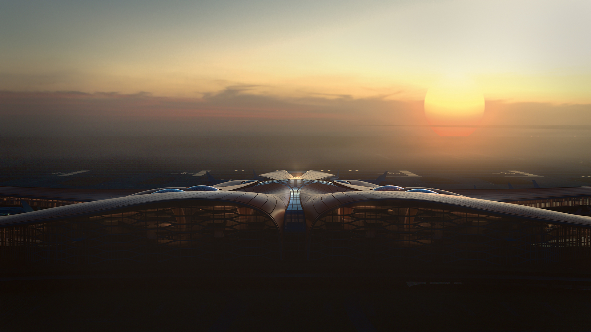 Daxing Airport designed by Zaha Hadid Architects and illustrated by Minmud