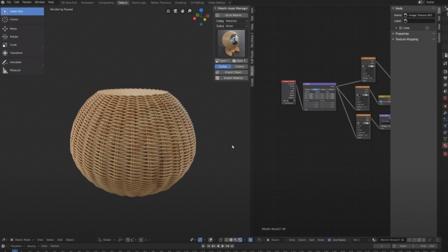 Blender 2.8 Wicker Basket with Spiral Weave