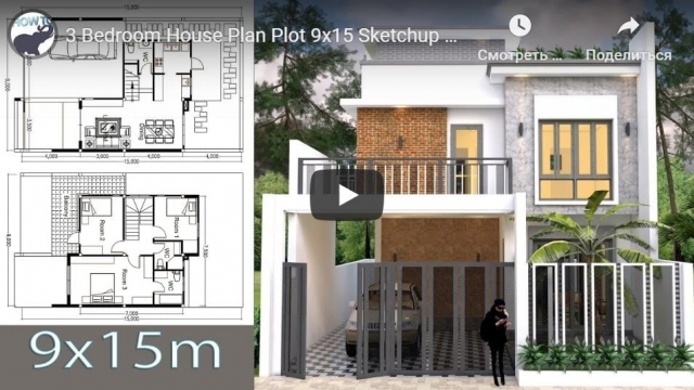 3 Bedroom House Plan Plot 9x15 Sketchup Modeling