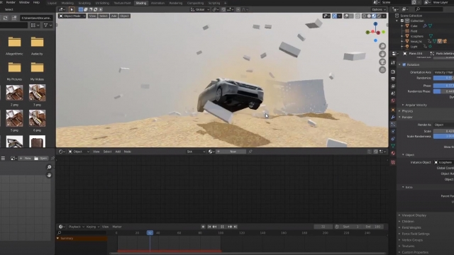 how to animate a car breaking through walls in blender 2.8