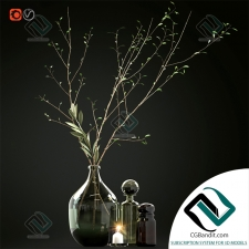 Декоративный набор Decor set with branches and glass bottles