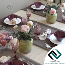 посуда Table setting with tea roses