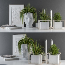 Sculpt Pot and Plants Decor Set
