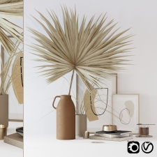 Decor set with dryed palm