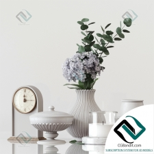 Декоративный набор Decor set with vases, flowers, clocks