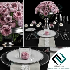 посуда Table setting with roses