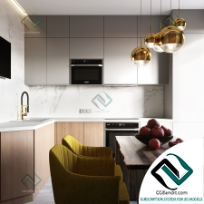Интерьер Kitchen with yellow chairs